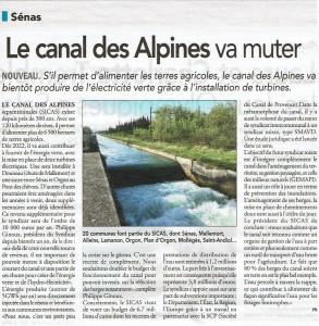 Micro centrale Canal des Alpines